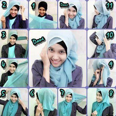 foto tutorial berhijab segi empat foto tutorial hijab modern segi empat