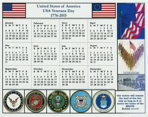 American Calendar 2015 Us Army Air American Veterans Day Calendar For 2015
