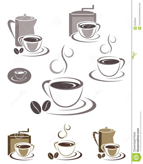 coffee cup design coffee cup icons and emblems design set stock photography