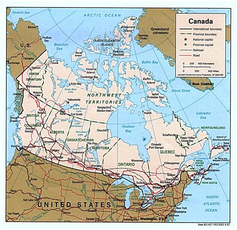 political map of canada detailed political map of canada with administrative divisions roads and major cities vidiani
