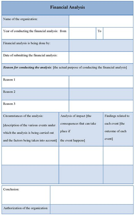 analysis template for financial format of financial