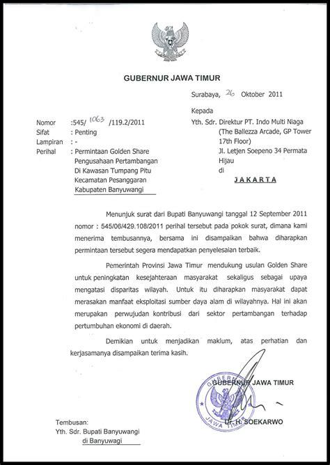 t7 surat gubernur jatim dukungan golden share 2011 10 26