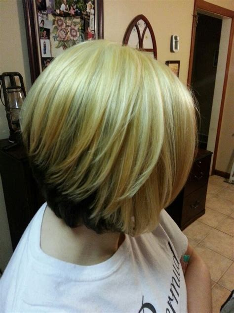Hairstyles With Blonde On The Bottom | blonde on top and brown on the bottom on a bob hairstyle