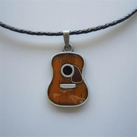 guitar metal charm pendant leather necklace