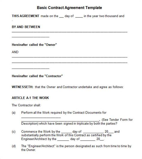 basic service agreement template contractual agreement 7 free pdf doc