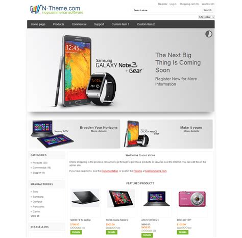 free nopcommerce templates nopcommerce 1 90 3 30 theme electronics template by n theme