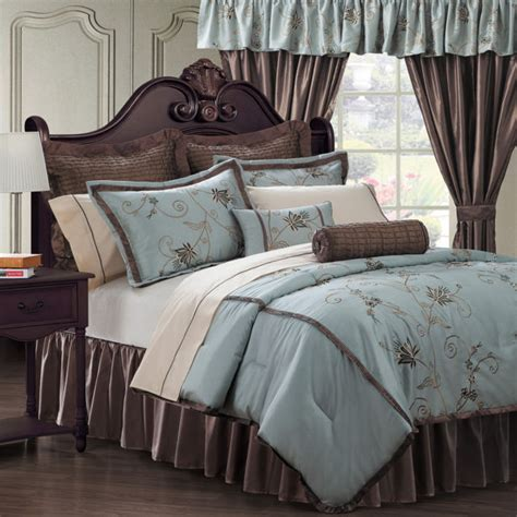 bed in a bag sets with matching curtains beautiful 23pc modern elegant taupe blue brown floral