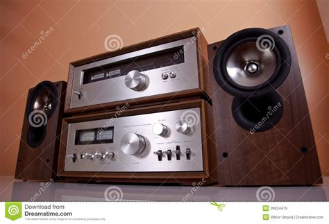 vintage stereo amplifier tuner speakers royalty  stock photo image