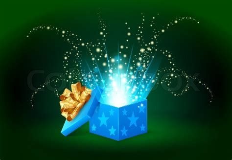 How To Use Home Design Gold Beautiful Magic Light Shining From A Blue Gift Box Stock