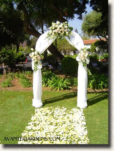 Garden Arch Wedding Garden Arch With White Draping And Flowers Wedding