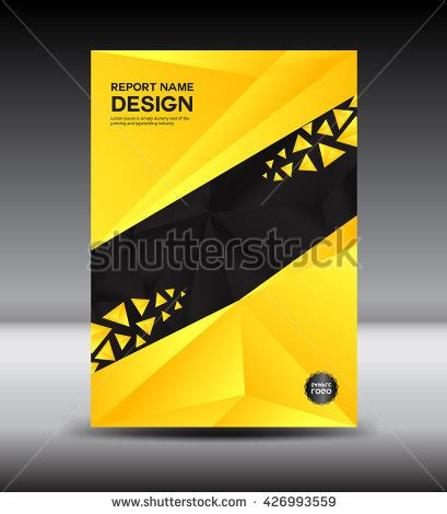 yellow black annual report template polygon stock vector