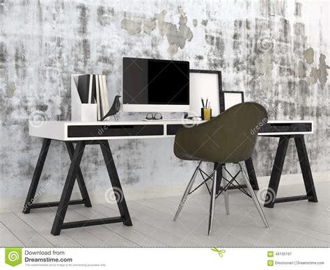 Trestle Office Desk Stylish Modern Black And White Office Interior Stock Illustration Image 49135197