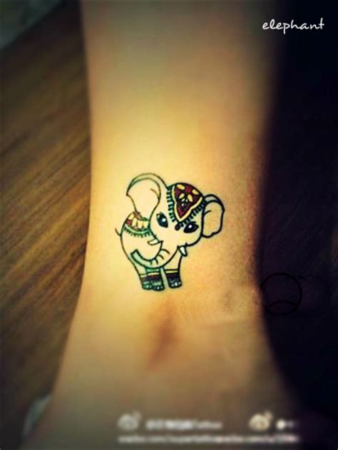 small hindu tattoos small elephant on ankle