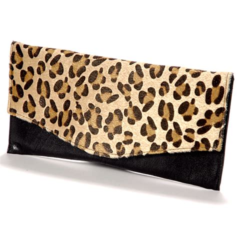 Leopard Print Clutch faux leather fur leopard pattern animal print evening