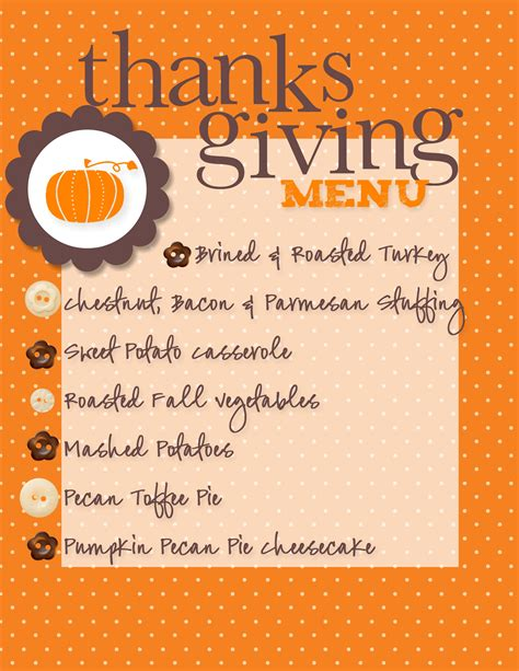our thanksgiving menu made with my digital studio creative cucina
