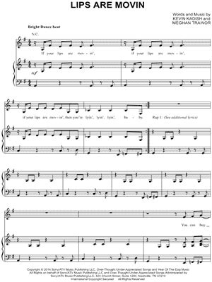 printable lyrics to your lips are moving meghan trainor quot lips are movin quot sheet music download print