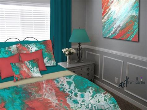 Gray Teal And Coral Bedding teal coral gray aqua bedding set duvet cover king