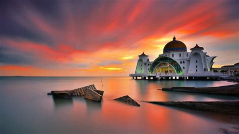 desktop wallpaper full hd free download full hd selat melaka mosque malaysia desktop wallpaper