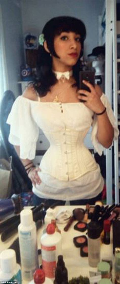 man wearing corset punishment woman has sculpted 18 inch waist by wearing corsets