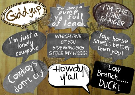themed party quotes cowboy or western theme photo booth props includes 9 sayings