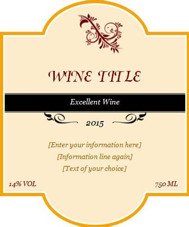 Custom Design Wine Label Template Word Excel Templates Wine Bottle Tag Template