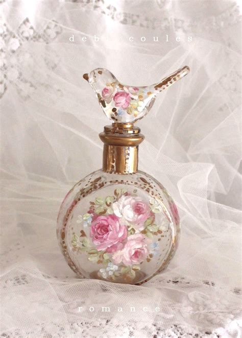 shabby romantic french roses bird perfume bottle debi coules romantic art a cutie