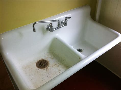 double ceramic sink before reglazing bay state refinishing