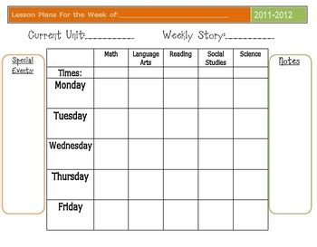 editable weekly lesson plan template editable lesson plan template by kasey krippner teachers