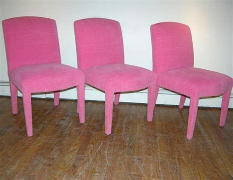 six dining chairs fully upholstered in pink chenille
