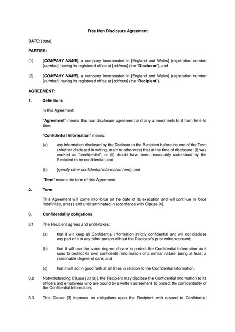 unilateral non disclosure agreement template best 25 non disclosure agreement ideas on