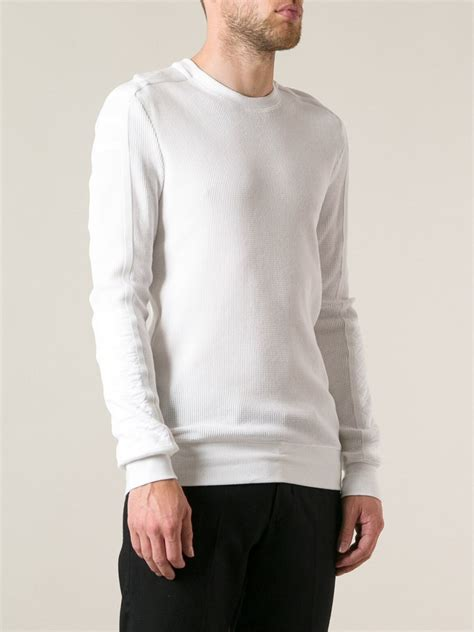 Sweater White lyst helmut lang waffle weave sweater in white for