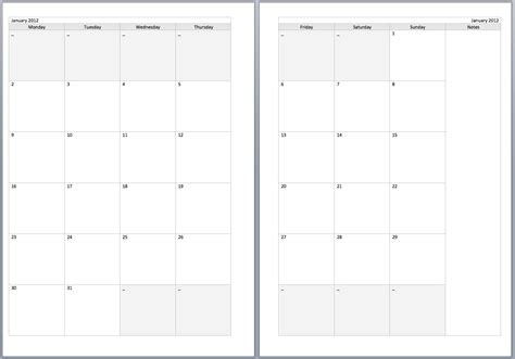 a5 calendar template free monthly filofax diary templates for a5 and personal