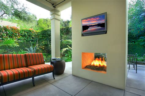 two sided fireplace patio contemporary with fireplace