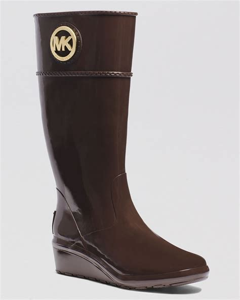 michael kors boots for michael michael kors wedge boots stockard in brown