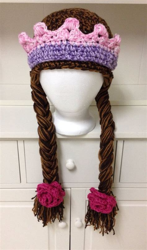 crochet princess hat with braids princess hat with braids flowers and crown by