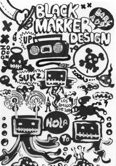 dibujos sobre papel en blanco  negro domestika
