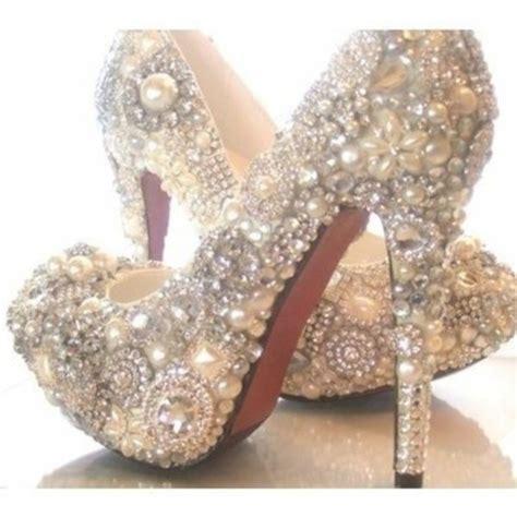 high heels with pearls shoes pearl diamonds glitter heels pumps high heels