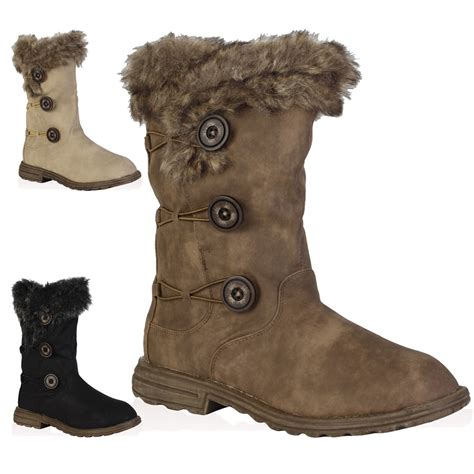 boots with fur soft faux fur lined womens button winter snow calf
