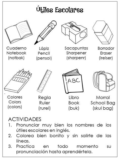 Ùtiles Escolares en Inglès | Utiles escolares, Escolares