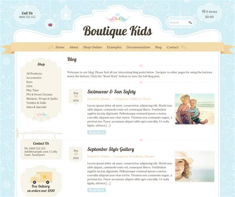blog layout codecanyon boutique kids creative by dtbaker themeforest