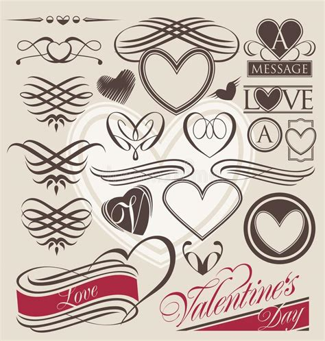 love wedding design elements vector vintage set of heart design elements stock image image