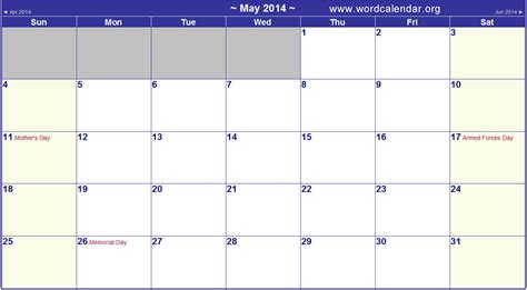 2014 calendar template with holidays 8 best images of printable monthly calendar may 2014 may