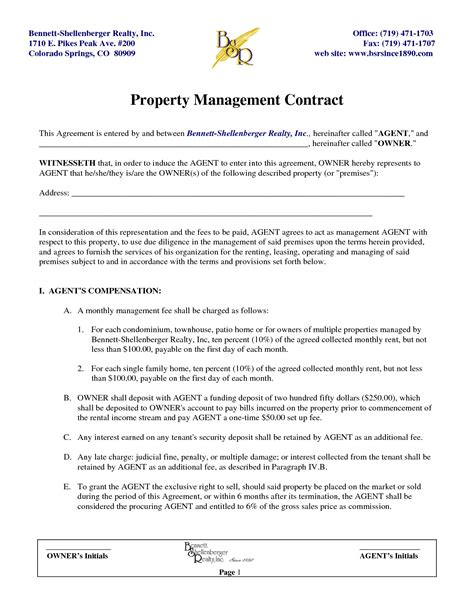 Property Management Agreement Best Property Maintenance Contract Template Inventory Auditor Do Property Maintenance Contract Template