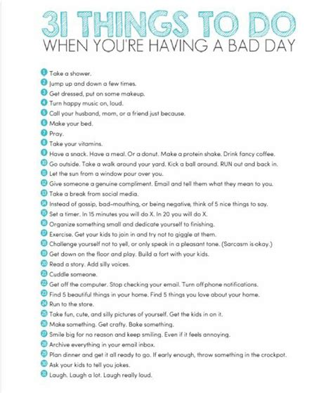 things to do in s day lists 31 things to do when you re a bad day