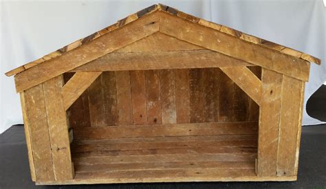 large handmade nativity stable reclaimed wood nativity set