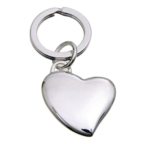 engraved silver plated heart shaped keyrings business