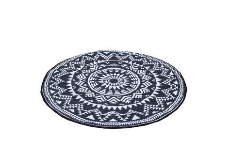 vloerkleed rond 180 cm rond plastic vloerkleed zwart wit