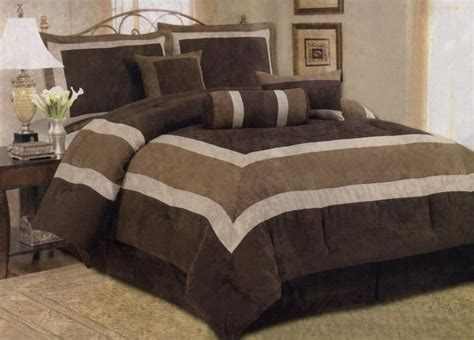 7 pcs micro suede contemporary comforter set bed in a bag