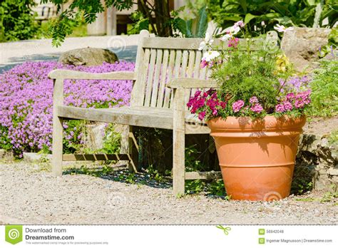 flower pot bench plans bench and flower pot stock photo image 56942048
