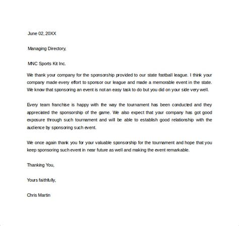 Letter For Sports Event Sle Sponsor Thank You Letter 15 Documents
